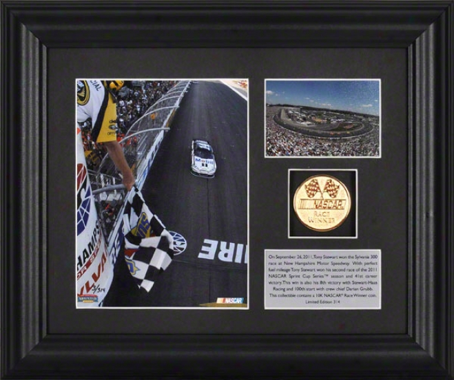 2011 Sylvania 300 At New Hampshire Motor Speedway Tony Stewarg Winner Fraemd Photograph  Details: Gold Coin, Plate, Limited Edition Of 314
