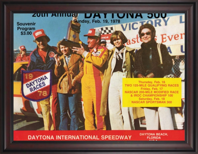20th Annual 1978 Daytona 500 Framed 36 X 48 Program Print