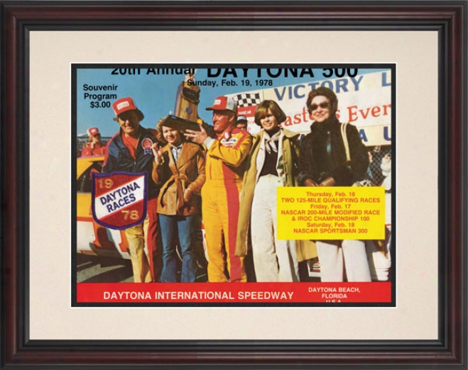 20th Annual 1978 Daytona 500 Framed 8.5  X 11 Program Prinf