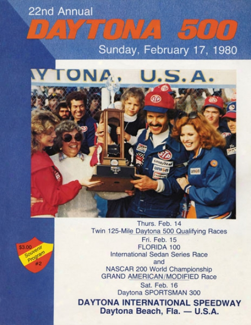22nd Annual 1980 Daytona 500 Canvas 22 X 30 Program Print