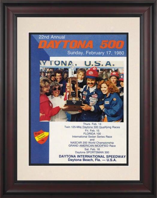 22nd Annual 1980 Daytona 500 Framed 10.5 X 14 Program Print