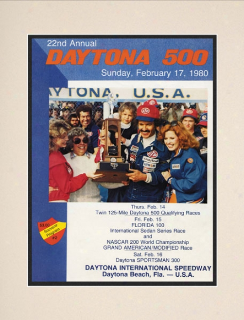 22nd Annual 1980 Daytona 500 Matted 10.5 X 14 Program Print
