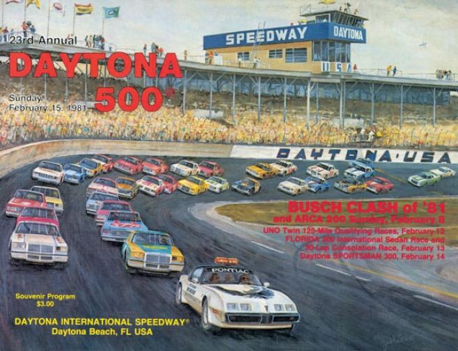 23rd Annual 1981 Daytona 500 Canvas 22 X 30 Prograam Print