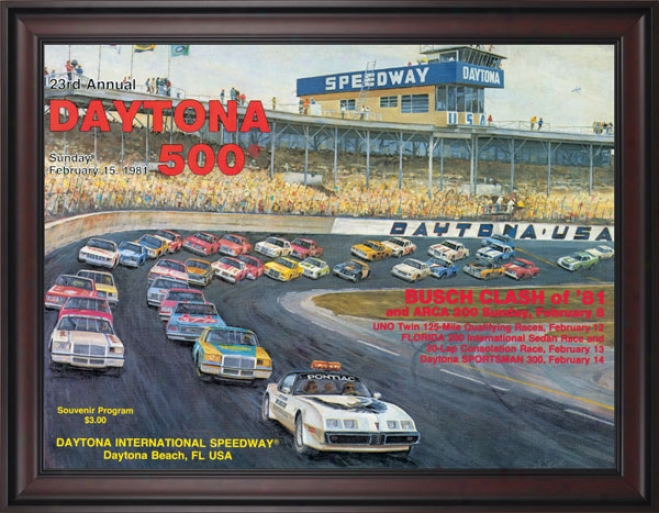 23rd Annual 1981 Daytona 500 Framed 36 X 48 Program Print