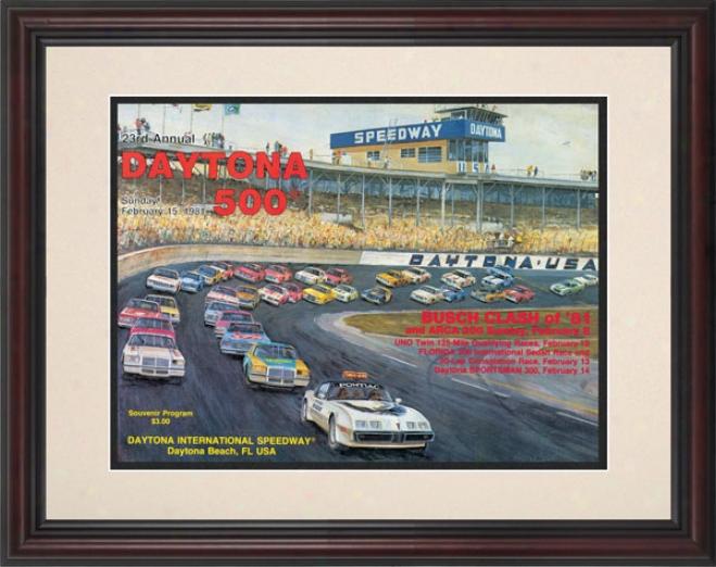 23rd Annual 1981 Daytona 500 Framed 8.5  X 11 Program Print