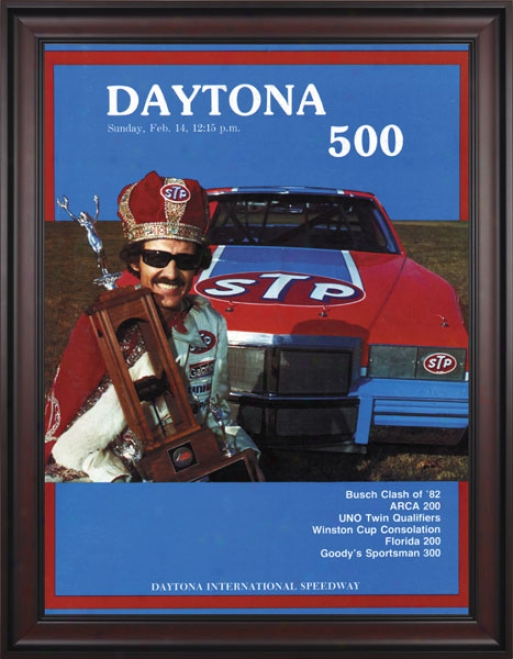 24th Annual 1982 Daytona 500 Framed 36 X 48 Program Print