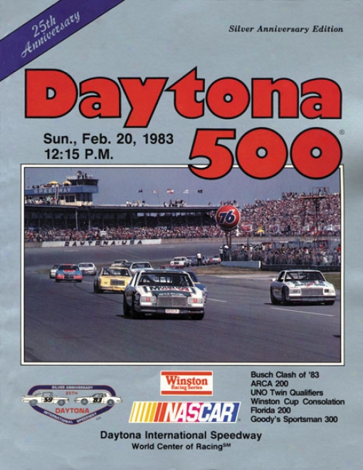 25th Annual 1983 Daytona 500 Canvas 22 X 30 Program Print