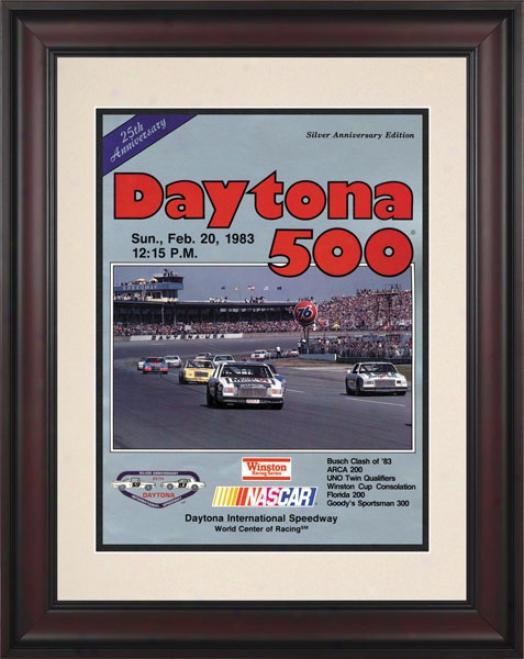 25th Annual 1983 Daytona 500 Framed 10.5 X 14 Program Print