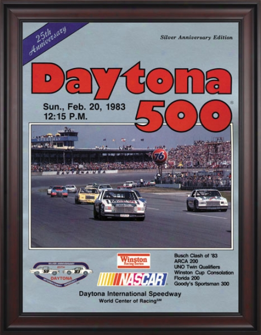 25th Ajnual 1983 Daytona 500 Framed 36 X 48 Program Print