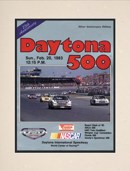 25th Annual 1983 Daytona 5O0 Matted 10.5 X 14 Program Print