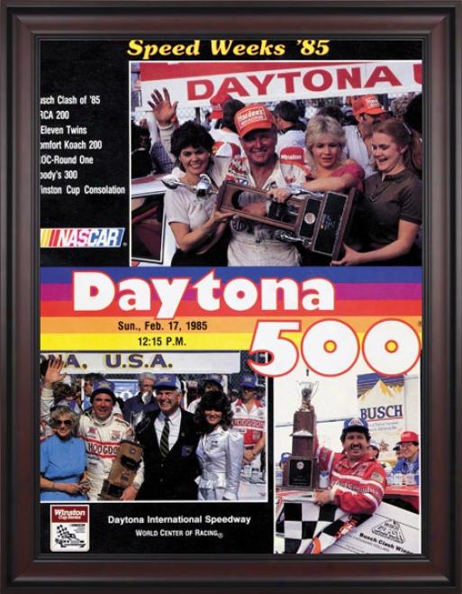27th Yearly publication 1985 Daytona 500 Framed 36 X 48 Program Print