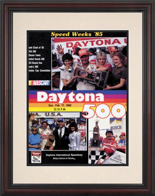 27th Annual 1985 Daytona 500 Framed 8.5  X 11 Program Print