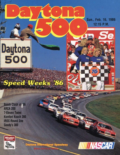 28th Annual 1986 Daytona 500 Canvas 22 X 30 Program Print