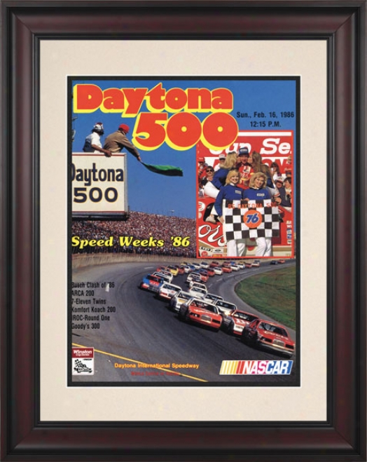 28th Annual 1986 Daytona 500 Framed 10.5 X 14 Program Print