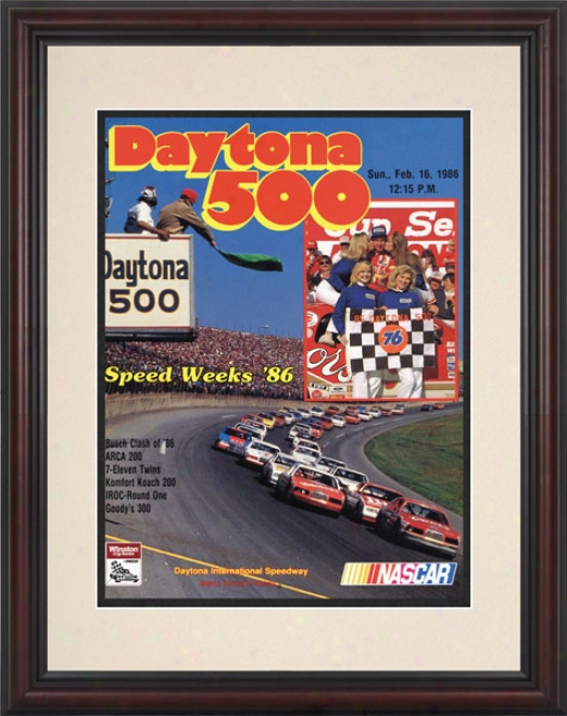 28th Annual 1986 Daytona 500 Framed 8.5  X 11 Program Print