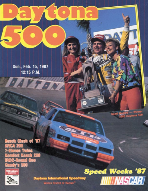 29th Yearly publication 1987 Daytona 500 Canvas 36 X 48 Program Print