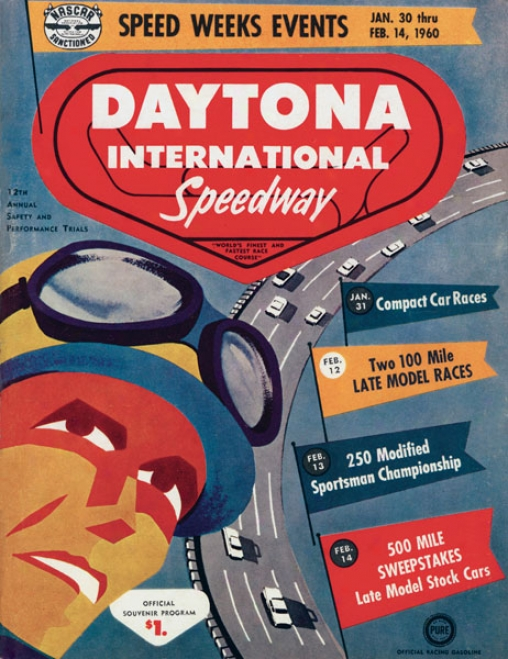 2nd Annual 1960 Daytona 500 Canvas 22 X 30 Program Print