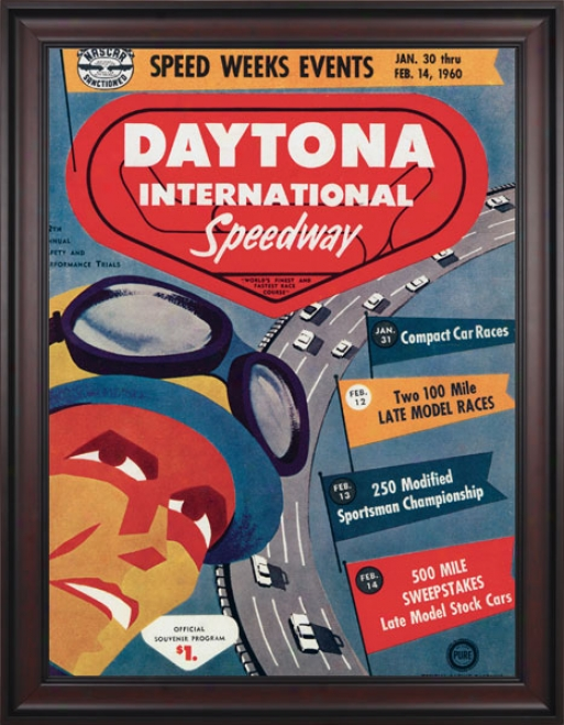 2nd Annual 1960 Daytona 500 Framed 36 X 48 Program Print
