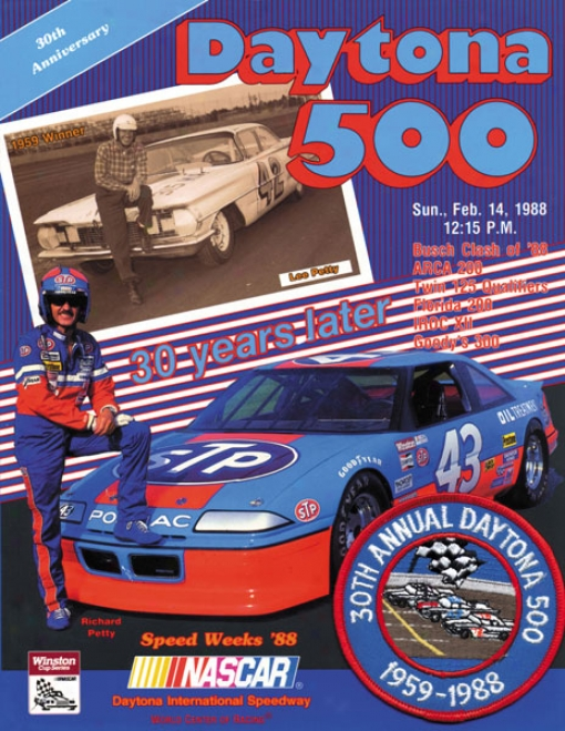 30th Annual 1988 Daytona 500 Canvaa 36 X 48 Program Print