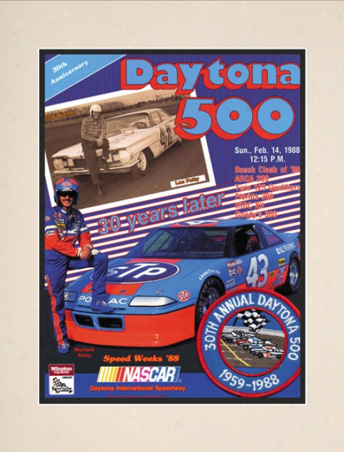 30th Annual 1988 Daytona 500 Matted 10.5 X 14 Program Print