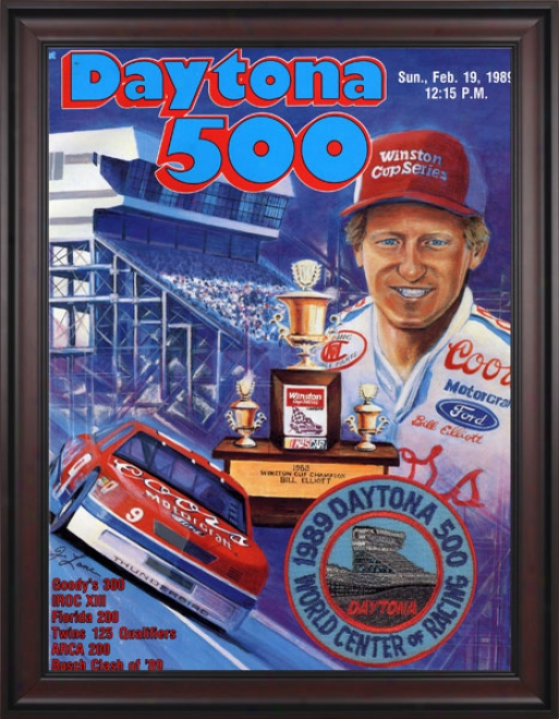 31st Annual 1989 Daytona 500 Framed 36 X 48 Progra Impression