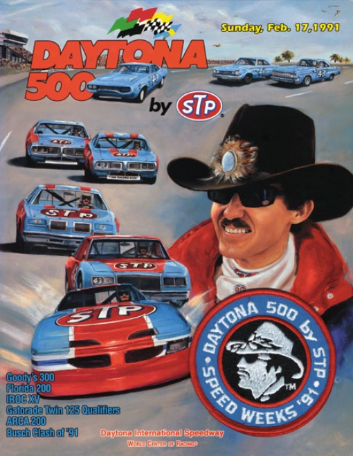 33rd Annual 1991 Daytona 500 Canvas 22 X 30 Program Print