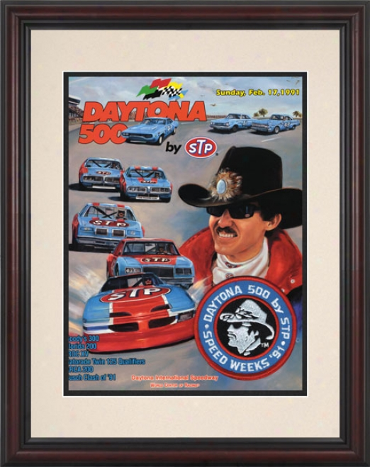 33rd Annual 1991 Daytona 500 Framed 8.5  X 11 Program Print