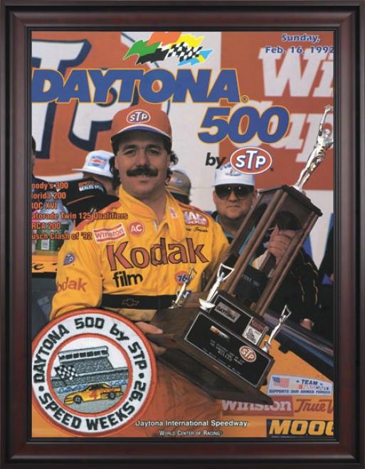 34th Yearly publication 1992 Daytona 500 Framed 36 X 48 Program Print