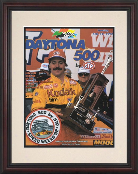 34th Yearly publication 1992 Daytona 500 Framed 8.5  X 11 Program Print