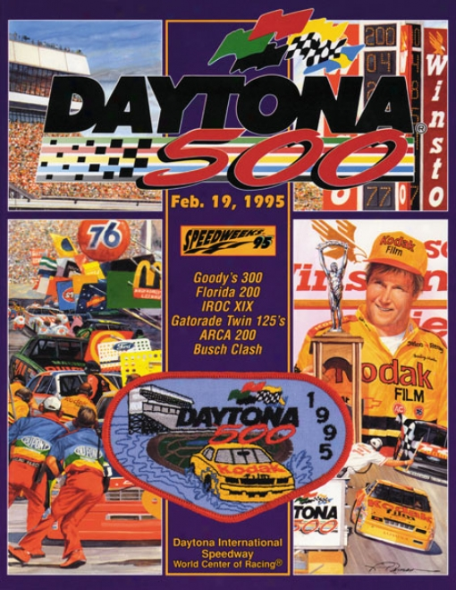 37th Annuwl 1995 Daytona 500 Canvas 22 X 30 Program Print