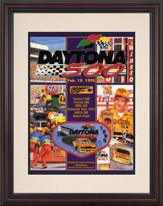 37th Annual 1995 Daytona 500 Framed 8.5  X 11 Program Newspaper
