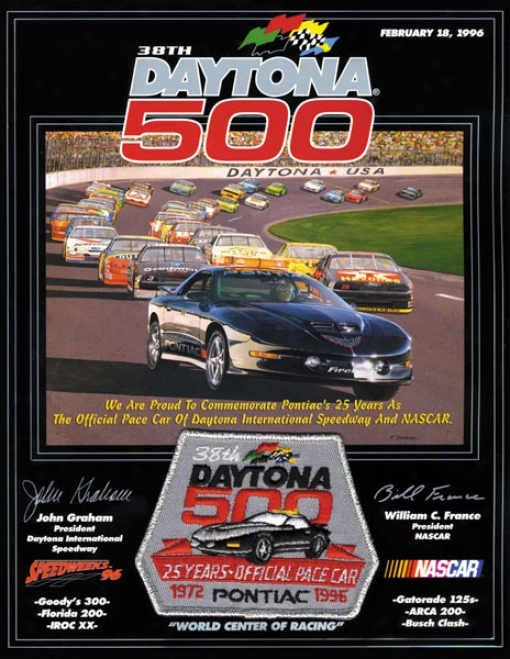 38th Annual 1996 Daytona 500 Canvas 22 X 30 Program Print