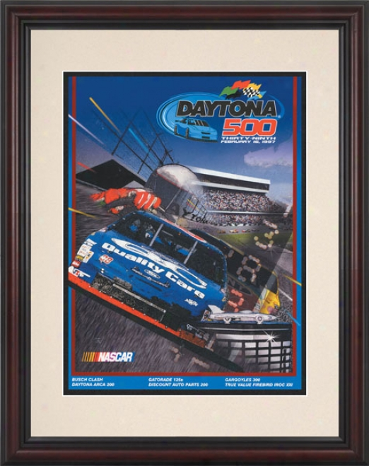 39th Annual 1997 Daytona 500 Framedd 8 .5  X 11 Program Print