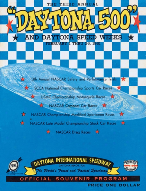 3rd Annual 1961 Daytona 500 Canvas 22 X 30 Program Print