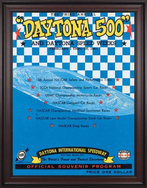 3rd Annual 1961 Daytona 500 Framed 36 X 48 Prpgram Print