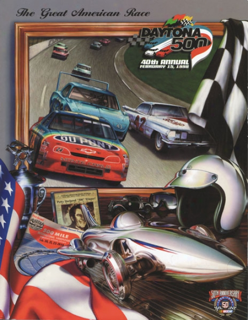 40th Annual 1998 Daytona 500 Canvas 22 X 30 Program Print