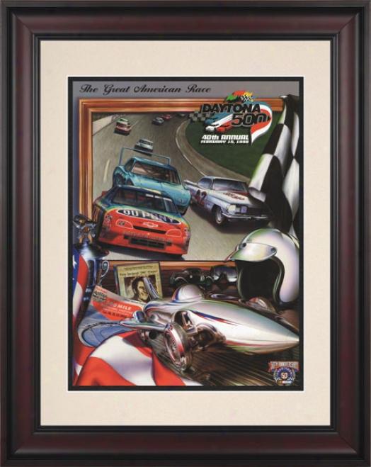 40ht Annual 1998 Daytona 500 Framed 10.5 X 14 Program Print