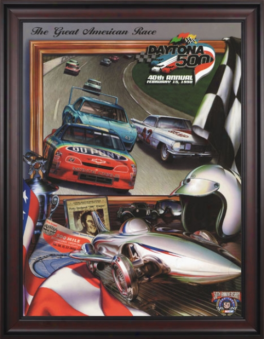 40th Annual 1998 Daytona 500 Framed 36 X 48 Program Impression