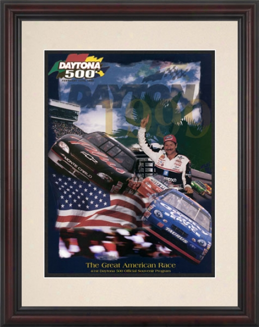 41st Annual 1999 Daytona 500 Framed 8.5  X 11 Program Print