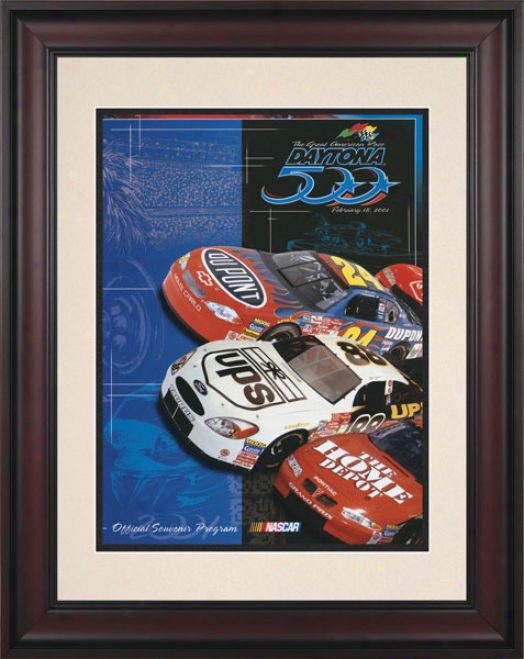 43rd Annual 2001 Daytona 500 Framed 10.5 X 14 Program Print