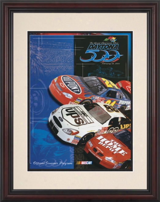 43rd Annual 2001 Daytona 500 Framed 85  X 11 Program Print