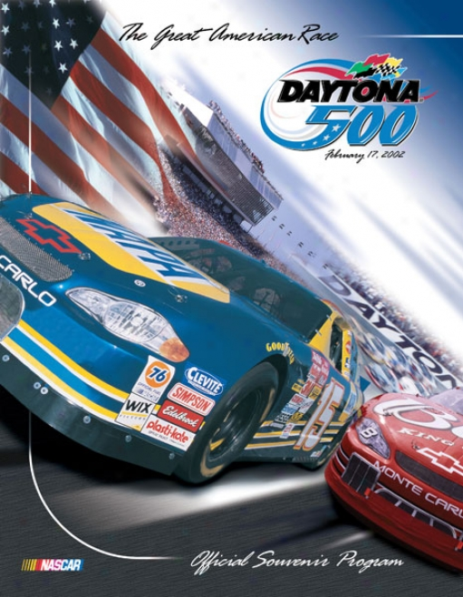 44th Annual 2002 Daytona 500 Canvas 36 X 48 Program Print