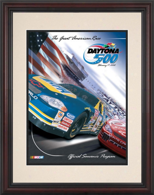 44th Annual 2002 Daytonaa 500 Framed 8.5  X 11 Program Print
