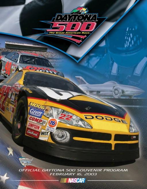 45th Annual 2003 Daytona 500 Canvas 22 X 30 Program Prnt