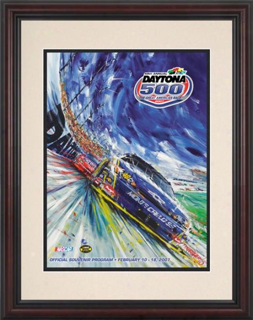 49th Yearly publication 2007 Daytona 500 Framed 8.5  X 11 Progrzm Print