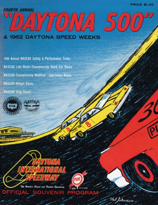 4th Annual 1962 Daytona 500 Canvas 36 X 48 Program Print