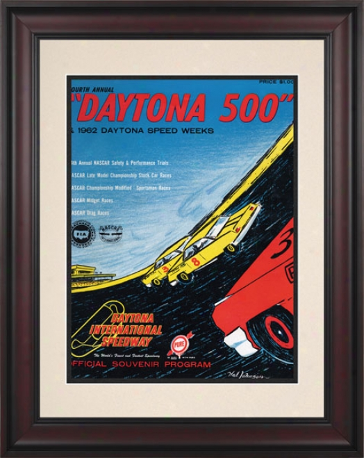 4th Annual 1962 Daytona 500 Framed 10.5 X 14 Program Print