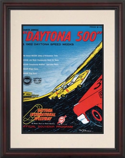 4th Annual 1962 Daytona 500 Framed 8.5  X 11 Program Impression