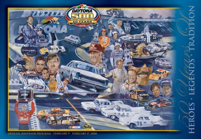 50th Annual 2008 Daytona 500 Canvas 22 X 30 Program Print