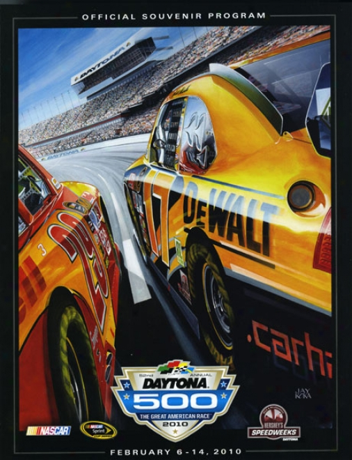 52nd Yearly publication 2010 Daytona 500 Canvas 36 X 48 Program Newspaper